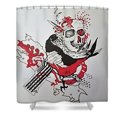 Shower Curtain featuring the drawing World Down-side-up by Kevin F Heuman