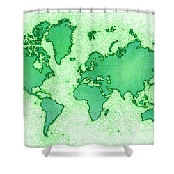 World Map Airy In Green And White Shower Curtain by Eleven Corners