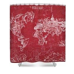 World Map Blueprint 3 Shower Curtain by Bekim Art
