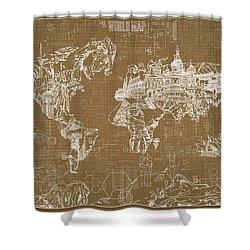 World Map Blueprint 4 Shower Curtain by Bekim Art