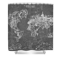World Map Blueprint 5 Shower Curtain by Bekim Art