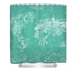 World Map Blueprint 7 Shower Curtain by Bekim Art