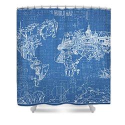 World Map Blueprint Shower Curtain by Bekim Art