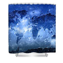 World Map Galaxy 9 Shower Curtain by Bekim Art