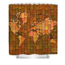 World Map Glasa Brown Orange Green Shower Curtain