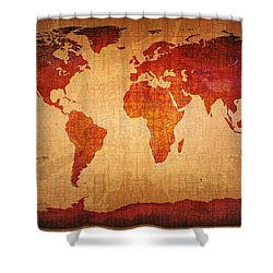 World Map Grunge Style Shower Curtain by Johan Swanepoel