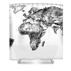 Shower Curtain featuring the drawing World Map In Graphite by Heidi Kriel