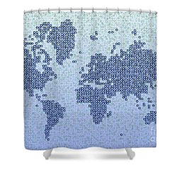World Map Kotak In Blue Shower Curtain