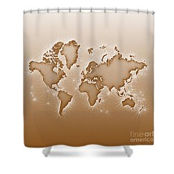 World Map Opala Square In Brown And White Shower Curtain