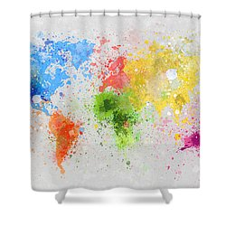 World Map Painting Shower Curtain by Setsiri Silapasuwanchai