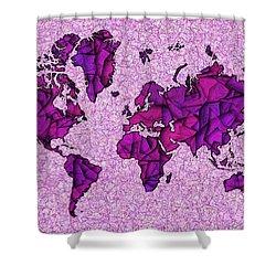 World Map Takkede In Purple Shower Curtain