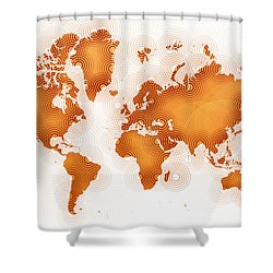 World Map Zona In Orange And White Shower Curtain