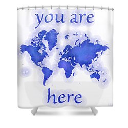 World Map Zona You Are Here In Blue And White Shower Curtain