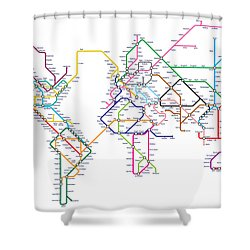 World Metro Tube Map Shower Curtain