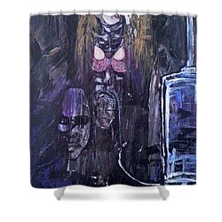 Shower Curtain featuring the painting World Of Hurt by Reed Novotny