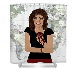 Shower Curtain featuring the digital art World Pain by Nancy Levan