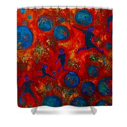 Shower Curtain featuring the painting World Soccer Dreams 2 by Claire Bull