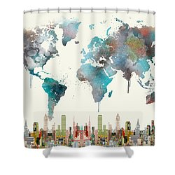 Shower Curtain featuring the painting World Travel Map by Bri B