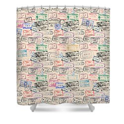 Shower Curtain featuring the mixed media World Traveler Passport Stamp Pattern - Antique White by Mark Tisdale