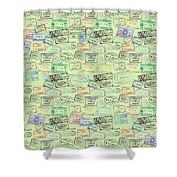 Shower Curtain featuring the mixed media World Traveler Passport Stamp Pattern - Mint Green by Mark Tisdale