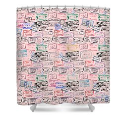 Shower Curtain featuring the mixed media World Traveler Passport Stamp Pattern - Rose Pink by Mark Tisdale