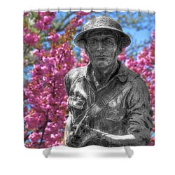 Shower Curtain featuring the photograph World War I Buddy Monument Statue by Shelley Neff