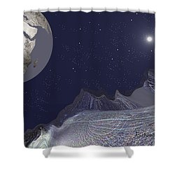 Shower Curtain featuring the digital art 1657 - Worlds - 2017 by Irmgard Schoendorf Welch