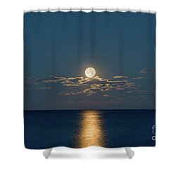 Worm Moon Over The Atlantic Shower Curtain