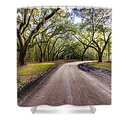 Shower Curtain featuring the photograph Wormsloe Road by Anthony Baatz