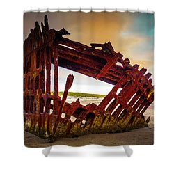 Worn Rusting Shipwreck Shower Curtain