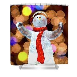 Worshiping Snowman Shower Curtain