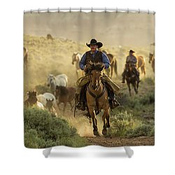 Wrangling The Horses At Sunrise At Absaroka Ranch, Wyoming Shower Curtain