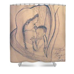 Wrapped Within The Angel Wings Of Momma Shower Curtain by Talisa Hartley