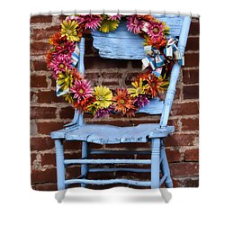 Shower Curtain featuring the photograph Wreath In A Chair by Joan Bertucci