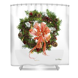 Shower Curtain featuring the digital art Wreath With Bow by Lise Winne