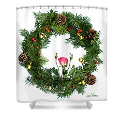 Shower Curtain featuring the digital art Wreath With Rose by Lise Winne