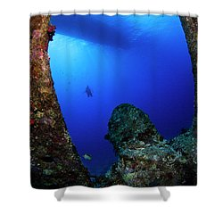 Shower Curtain featuring the photograph Wreck Diving by Rico Besserdich