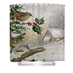 Wren In Hollybush By A Cottage Shower Curtain by Carl Donner