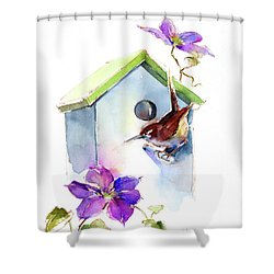 Wren With Birdhouse And Clematis Shower Curtain