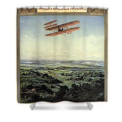 Wright Brothers - World's Greatest Aviators - Dayton, Ohio - Retro Travel Poster - Vintage Poster Shower Curtain