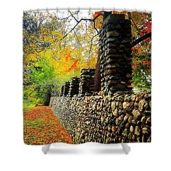 Wright Park Stone Wall In Fall Shower Curtain