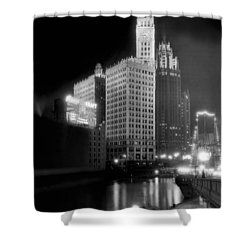 Wrigley And Tribune Buildings Shower Curtain by Underwood Archives