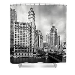 Shower Curtain featuring the photograph Wrigley Building Chicago by Adam Romanowicz
