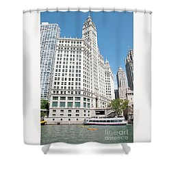 Wrigley Building Overlooking The Chicago River Shower Curtain
