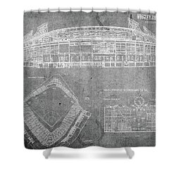 Wrigley Field Chicago Illinois Baseball Stadium Blueprints Gray Shower Curtain
