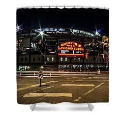 Wrigley Field Marquee At Night Shower Curtain