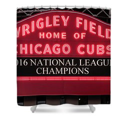 Wrigley Field Marquee Cubs Champs 2016 Front Shower Curtain