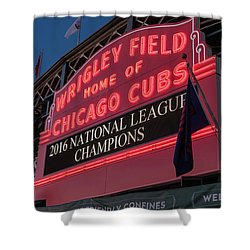 Wrigley Field Marquee Cubs National League Champs 2016 Shower Curtain by Steve Gadomski