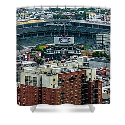 Wrigley Field Park Place Towers During The Day Dsc4743 Shower Curtain by Raymond Kunst