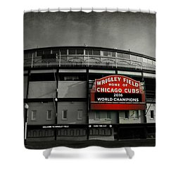 Wrigley Field Shower Curtain by Stephen Stookey